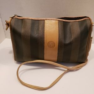 Fendi vintage tan and black crossbody purse